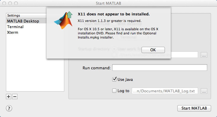 X11 Error with Matlab 2008b on Mavericks