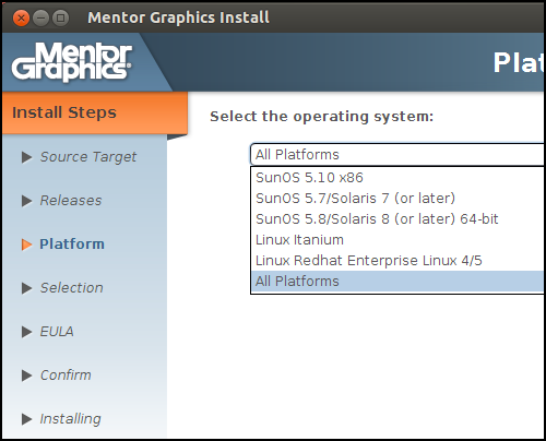 Installation Screen of Mentor Questa - Select the operating system