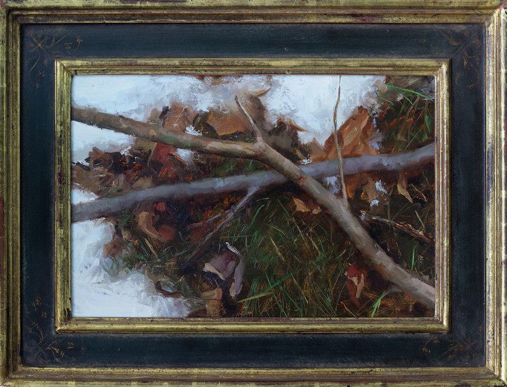 First Snow, 12 x 18 inches, Oil on birch