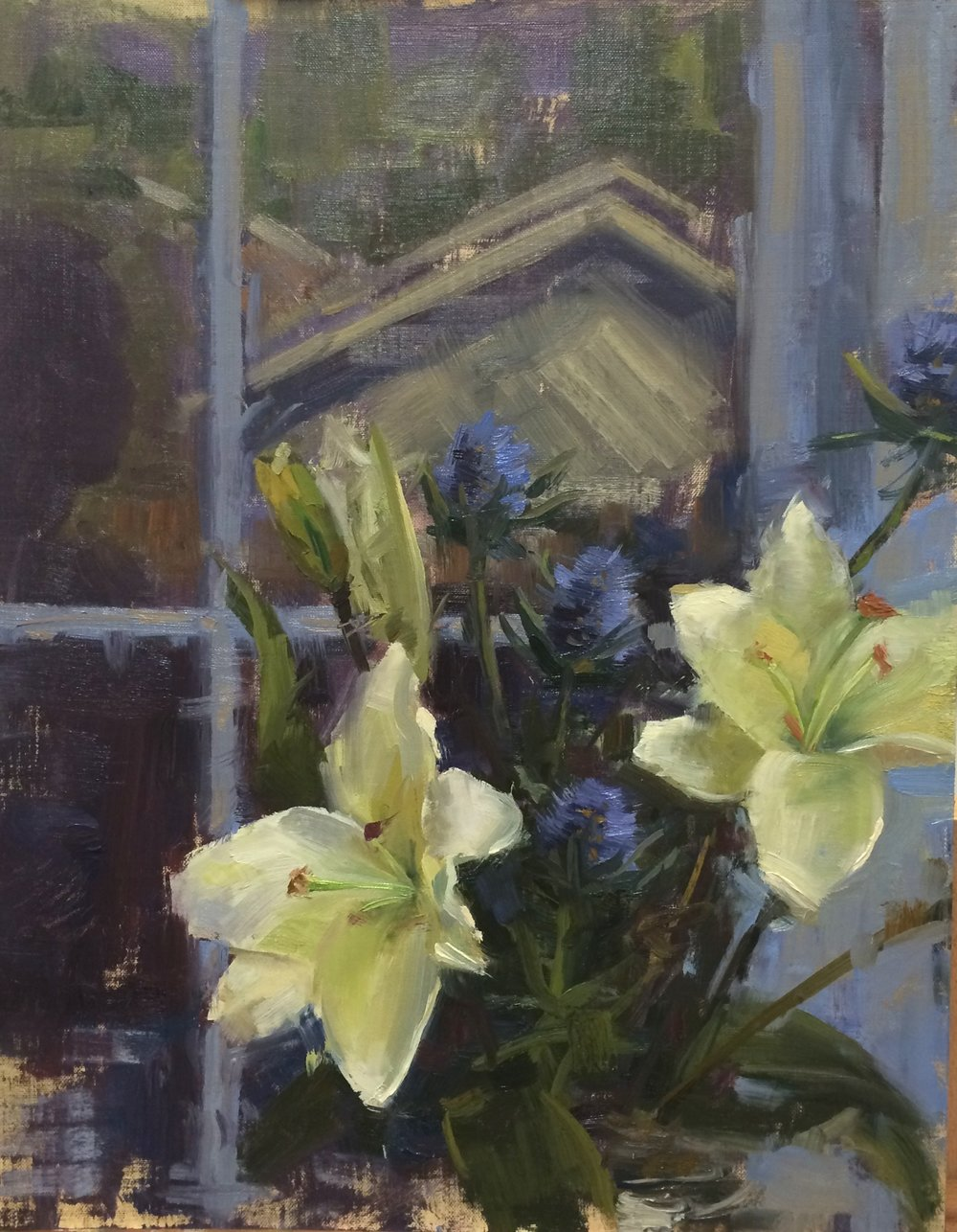 Reflected Lilies, 12 x 16 inches, Oil on linen
