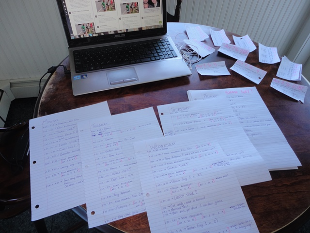 If you've ever wonderedwhat creating a rehearsal schedule for camp looks like, it looks something like this!