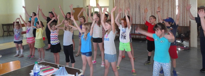 """Our Drama Camp participants rehearsing their choreography for """"Meet Again and Play,"""" our closing song for the  Charlotte's Web  production!"""