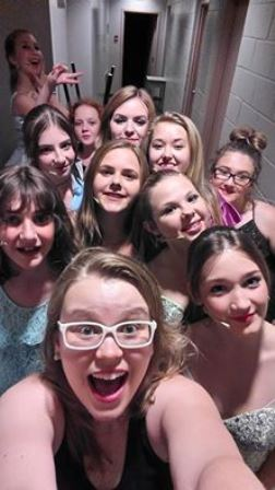 A shownight selfie of me and the lovely ladies from camp. Every one of them is a star! (So are the guys, though they unfortunately missed out on this photo.)