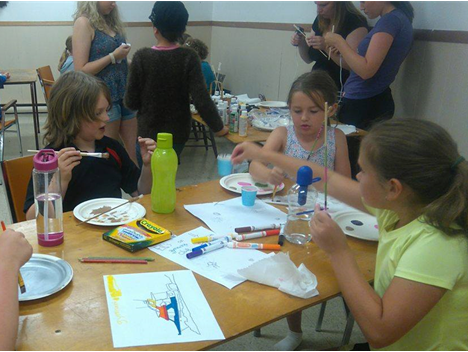 Some of our campers hard at work completing their magic wan crafts! PHOTO CREDIT: Ally Loiselle