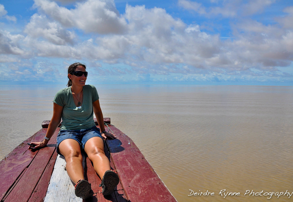 Sabine on the Tonle Sap, Cambodia. August 2012