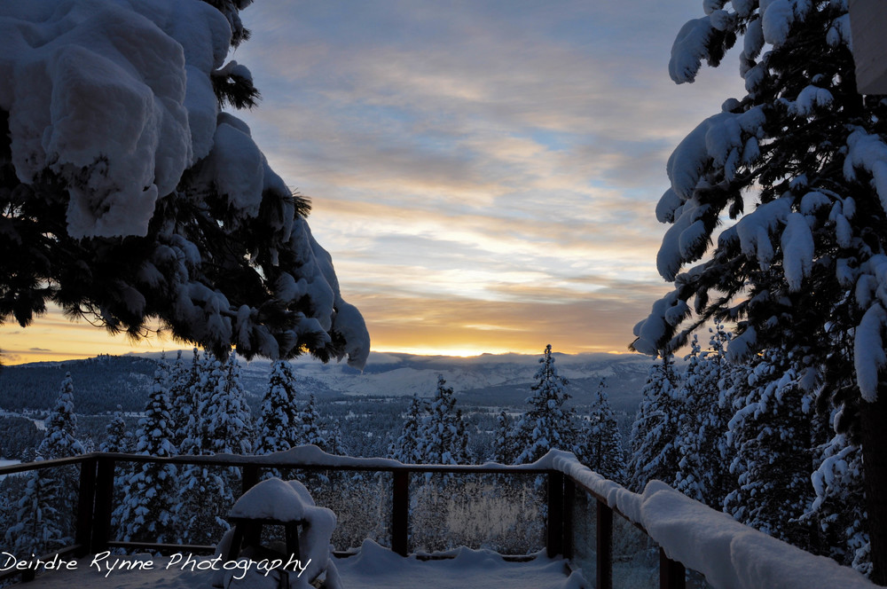 "My Happy Birthday Sunrise with 97"" of fresh snow in Truckee, California. March 2012."