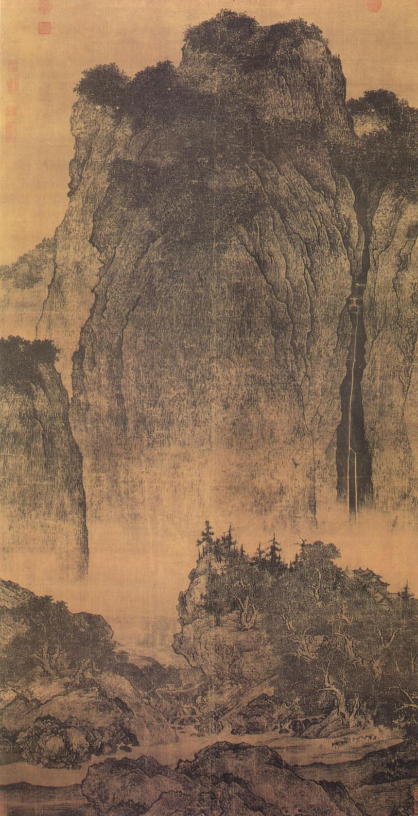"Fan Kuan, ""Travelers among Mountains & Streams"" Northern Song period, early 11th century. Hanging scroll. National Palace Museum, Tabei."