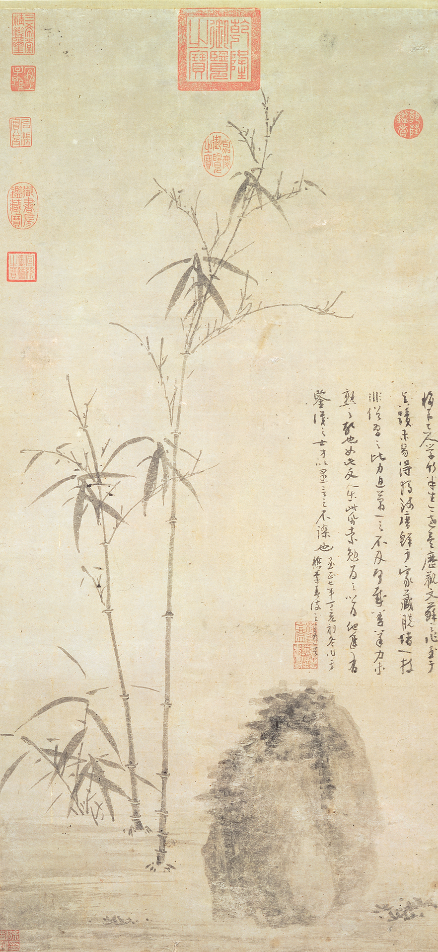 "Wu Zen, ""Stalks of Bamboo by a Rock."" Yuan Dynasty, 1347. Hanging Scroll. National Palace, Tabei"