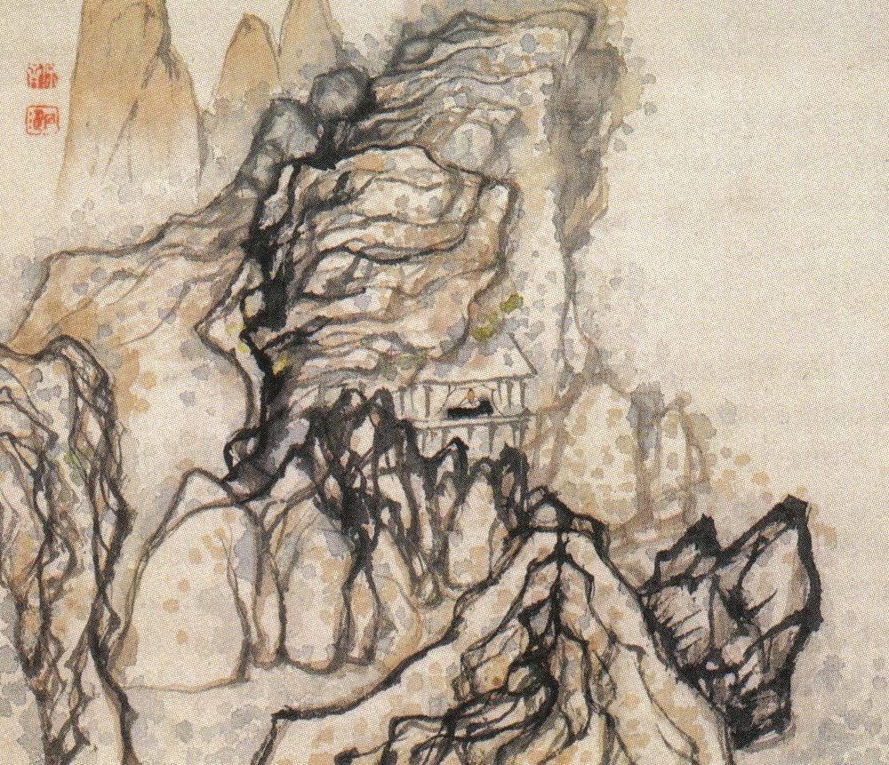 "Shitao, ""Man in a House beneath a Cliff"" Qing dynasty, late 17th century. Album leaf,. Wang Collection, New York."