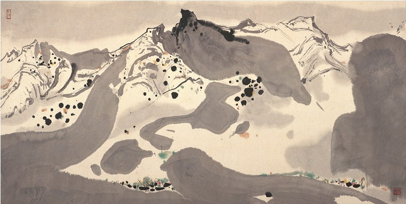 "Wu Guanzhong. ""Spring Snow."" Ink. 1983"