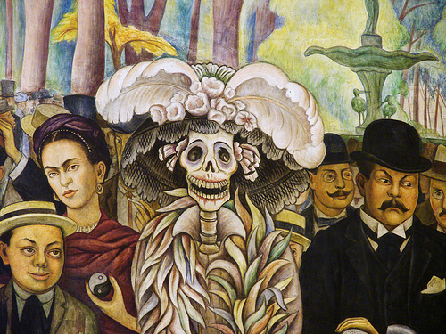 "Detail from Diego Rivera's ""Sueño de una Tarde Dominical en la Alameda Central"""