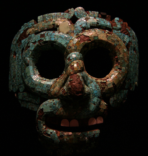Image caption: Mosaic mask of Quetzalcoatl