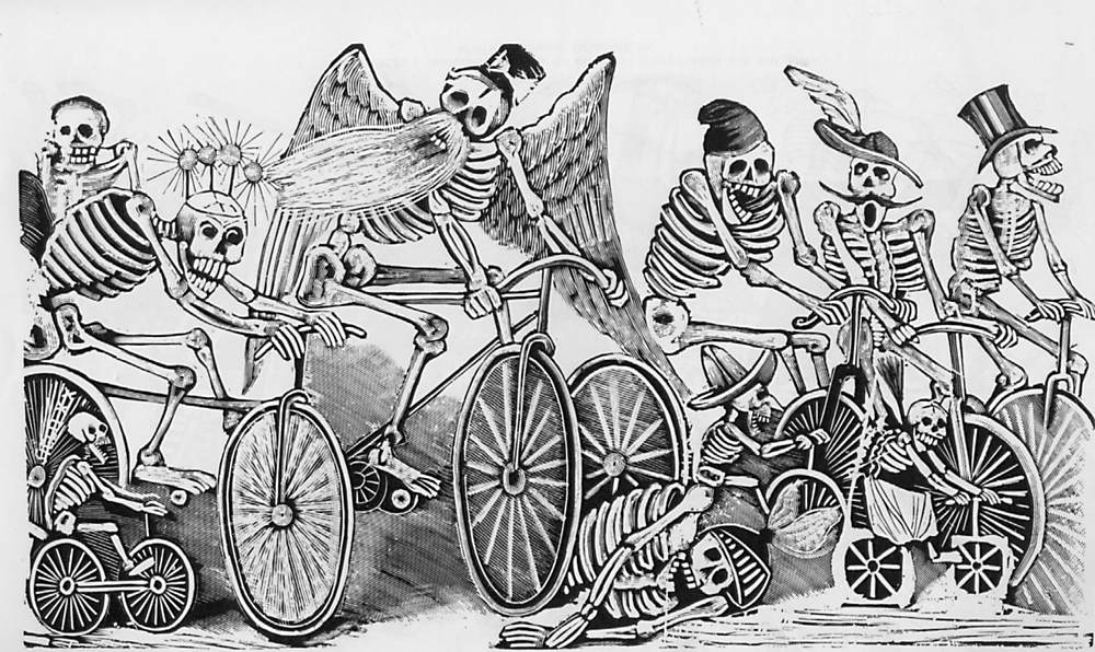 "The Cyclists ""Calavera of the Newspapers"""