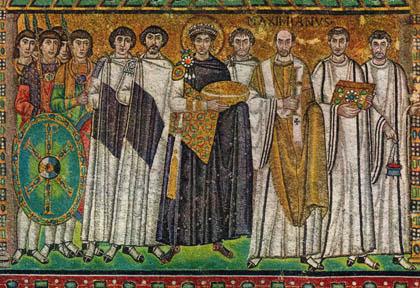 Justinian I, San Vitale, Ravenna, Italy. Mosaic. 525 AD