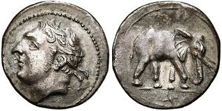 From Second Punic War. Silver shekel of Hannibal and war elephant.