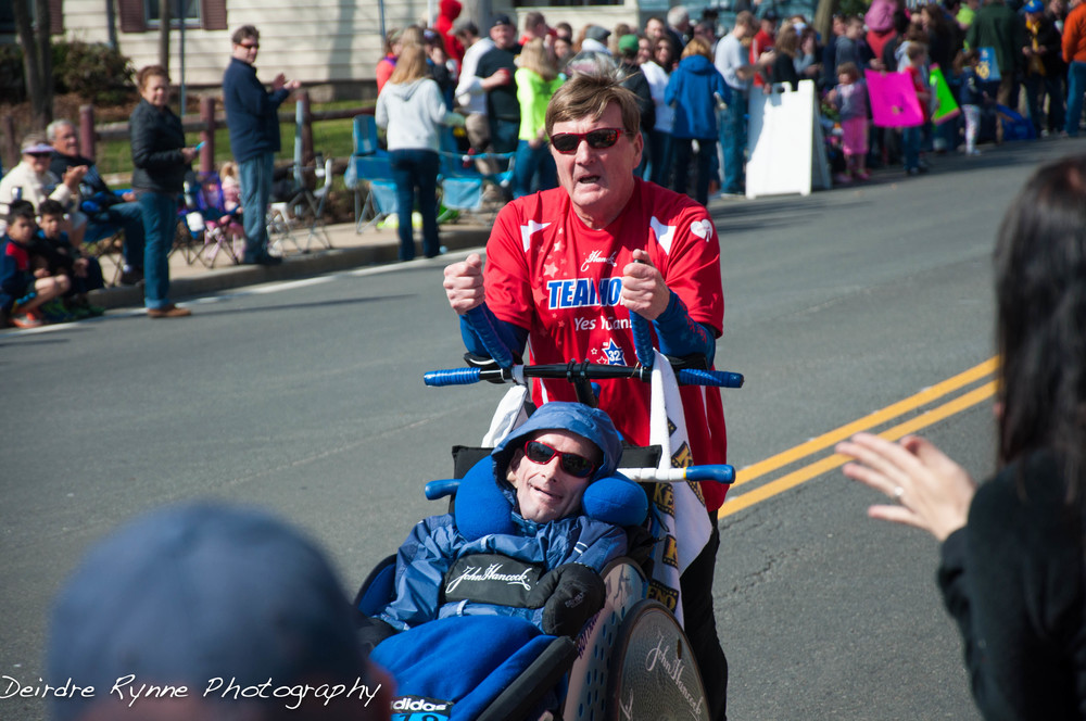 Dick & Rick Hoyt running their last Boston Marathon. Thank you for inspiring us all!
