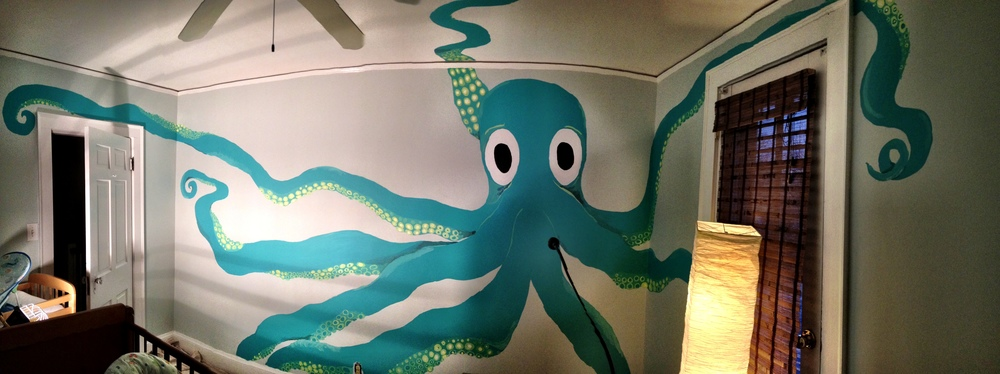 I was really happy to paint this mural for friends in their nursery! I've painted the tentacles on the ceiling as well. It was a great, fun project! (January 2014)