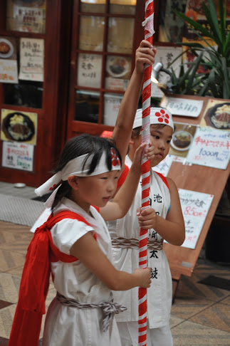 Children Celebrate the Tenjin Festival Festival in Osaka, July 2012. It was 104F that day!