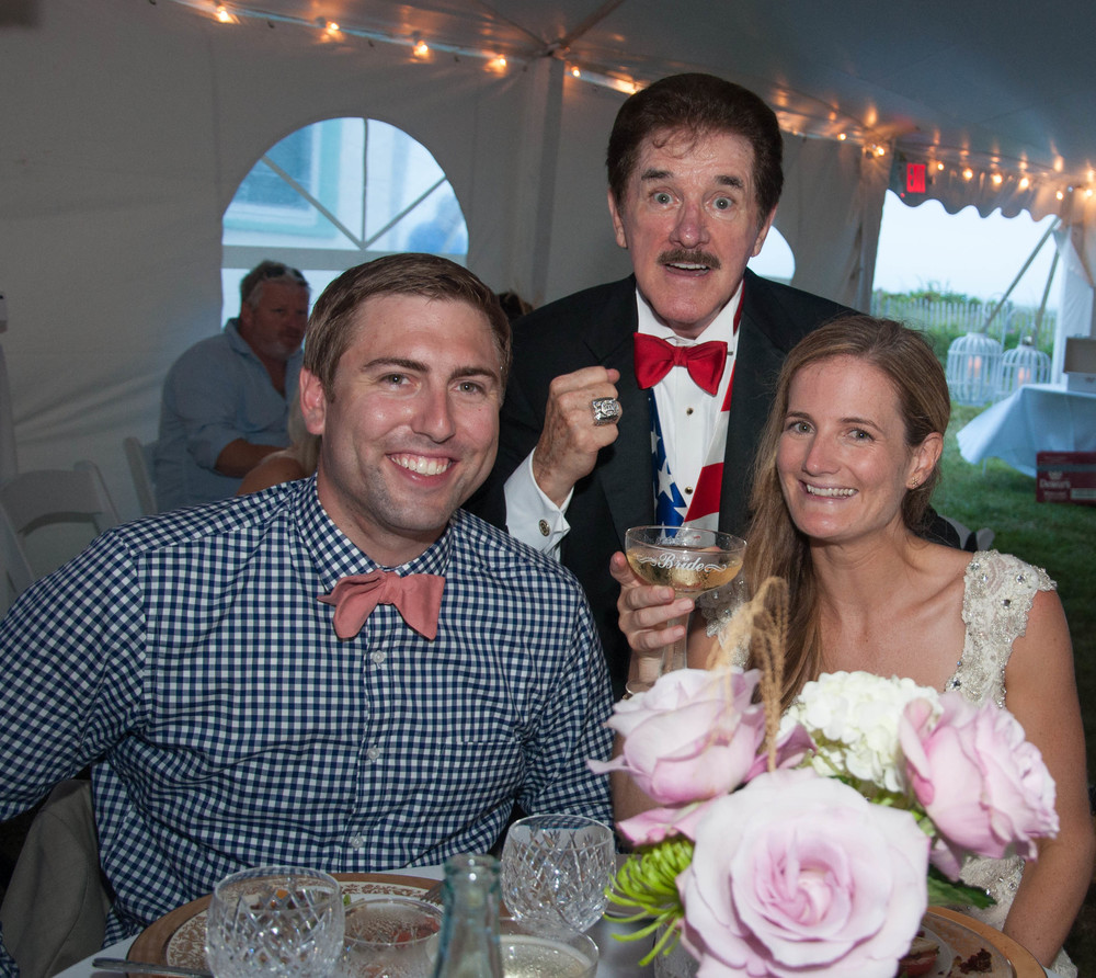 Bryan is a BIG Bruins fan and moved to Oregon last year. Unfortunately he missed an entire Bruins season! Sheila decided to surprise him by inviting Rene Rancourt to sing the National Anthem at their wedding! It was a HUGE HIT!
