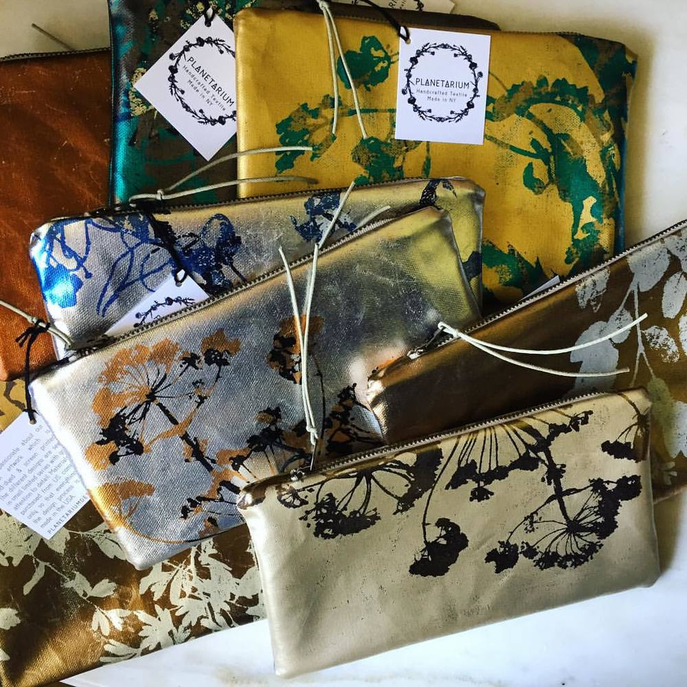 Also new batch of #FoilBags #FoilScreenPrintedBags with some fall colors find at #clotheslinefestival #textiledesignstudio #planetariumdesign