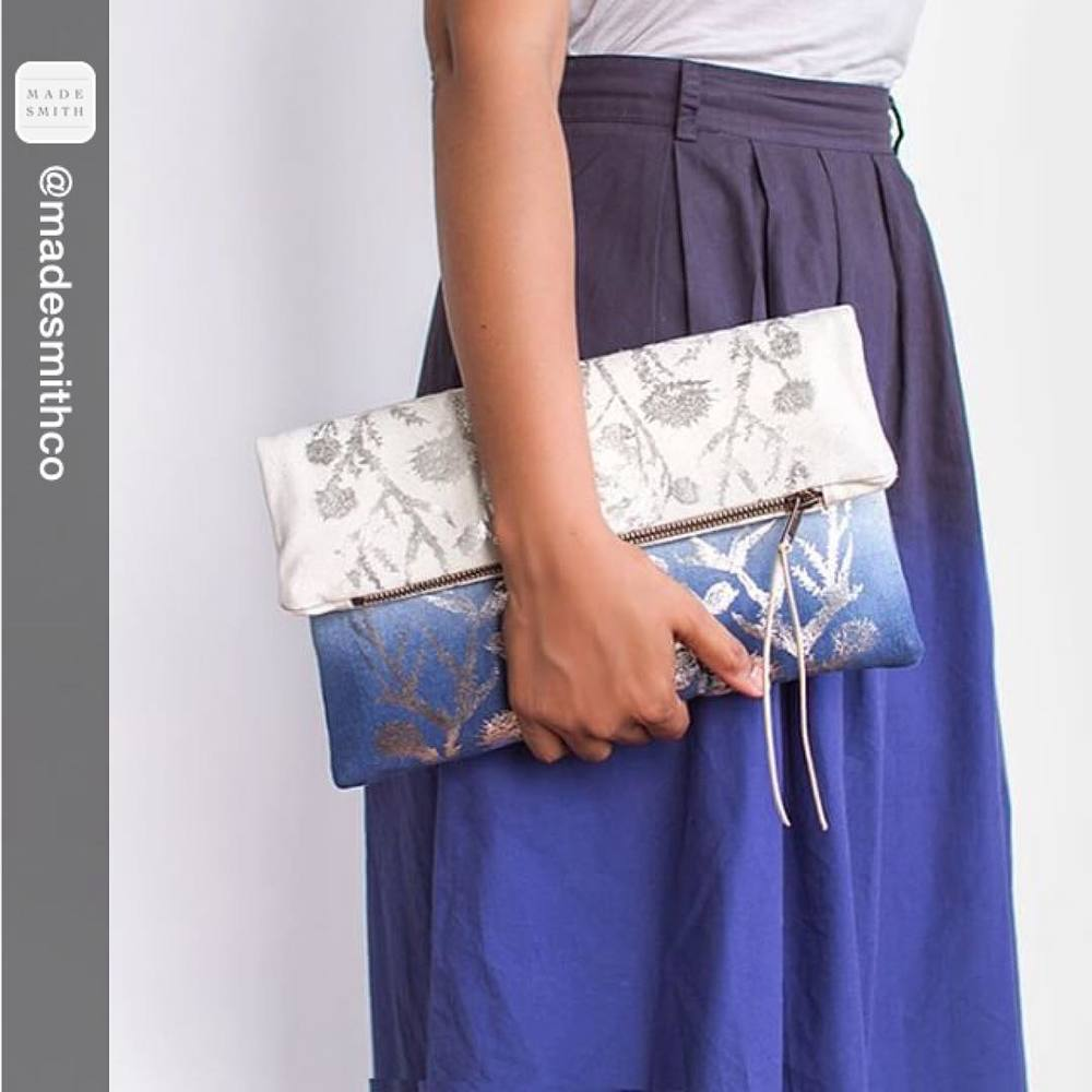 THANK YOU! Absolutely LOVE this photo By @madesmithco 💙💙💙 #textiledesign #screenprinted clutch