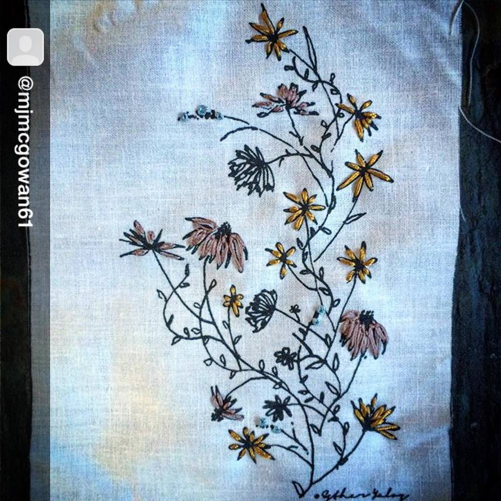 I enjoy seeing my designs being used in different ways this one from @mjmcgowan61 really touched me. Such delicate and beautiful attention to details! Wish I have the patience to do some #embroidery work one of this day's… #textiledesign 💜💜💜