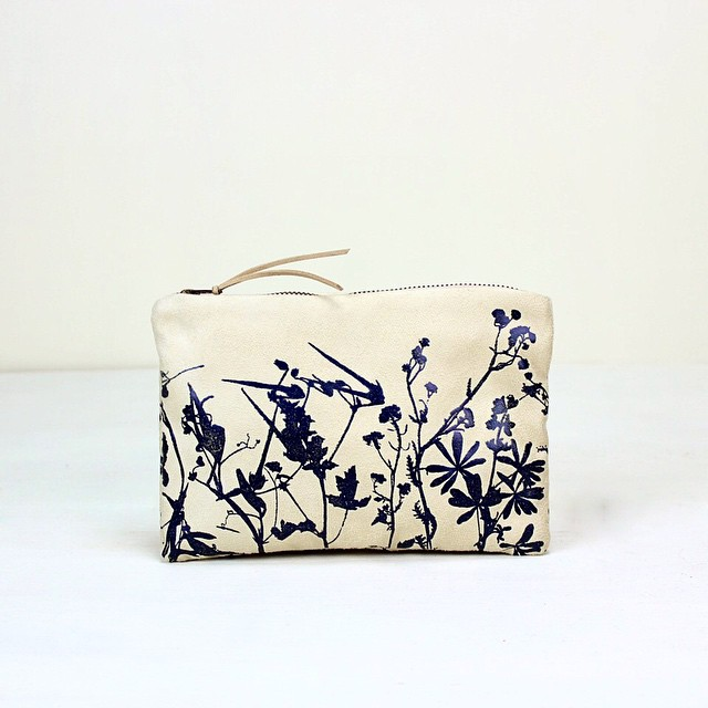 #bluelupine #WILDFLOWERS small pouch/bag #screenprinted with navy blue foil #planetariumdesign #textiledesign #cosmeticpouch