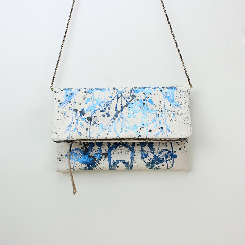 WILDFLOWERS - Hand Printed Foldover Clutch Bag, Evening bag, Original botanical artwork