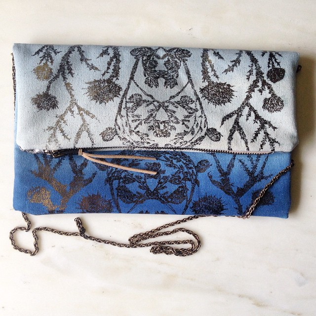 #screenprinted wildthornes clutch - sky blue with dark silver foil. One of my favorite color combinations went to someone special! Now I really have to dye & #screenprint a new batch of these maybe in purples and golds… #textiledesign #planetariumdesign #estheryaloz