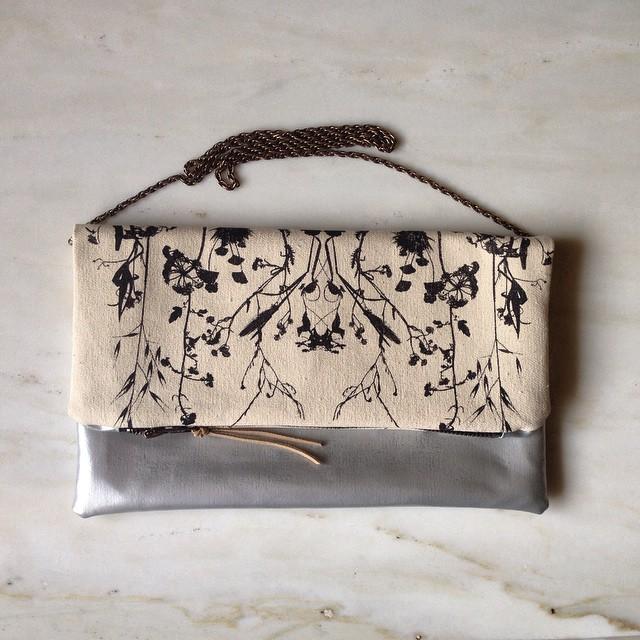 Fold Over #clutch bag with chain #planetariumdesign #textiledesign #screenprintedbag
