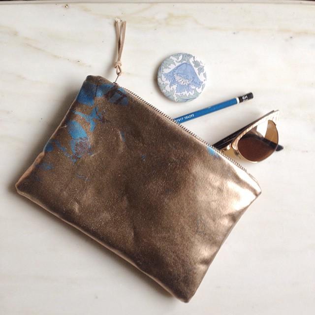 Back side #purse #bag #screenprinted #foilbag #planetariumdesign #textiledesign #estheryaloz