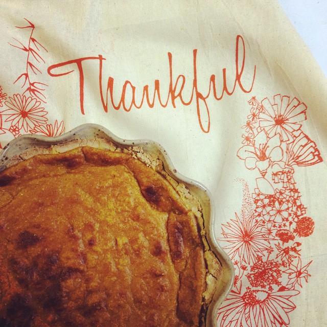 Home made pumpkin pie 🎃 with #thankfulpattern flour sack #teatowel #screenprinted #homegoods can make a really nice hostess gift for #thanksgiving #planetariumdesign #textiledesign $12