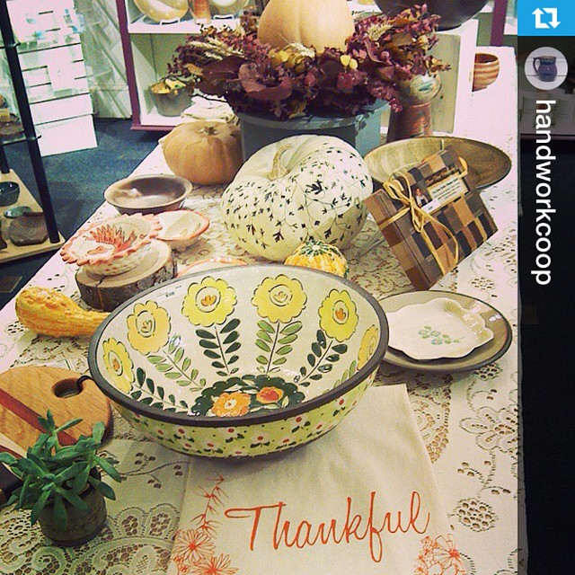 #Repost from @handworkcoop & @colleenceramics — Our #abundant #thankful #table #display featuring #handwork #artists. #thankyou #estheryaloz for your #creativity! #shoplocal #kitchen wares #thanksgiving #locally made #pottery #bowls #woodwork #napkins screen printed #towels #feast #foodie #grateful #cooperatives (at Handwork, Ithaca's Cooperative Craft Store)