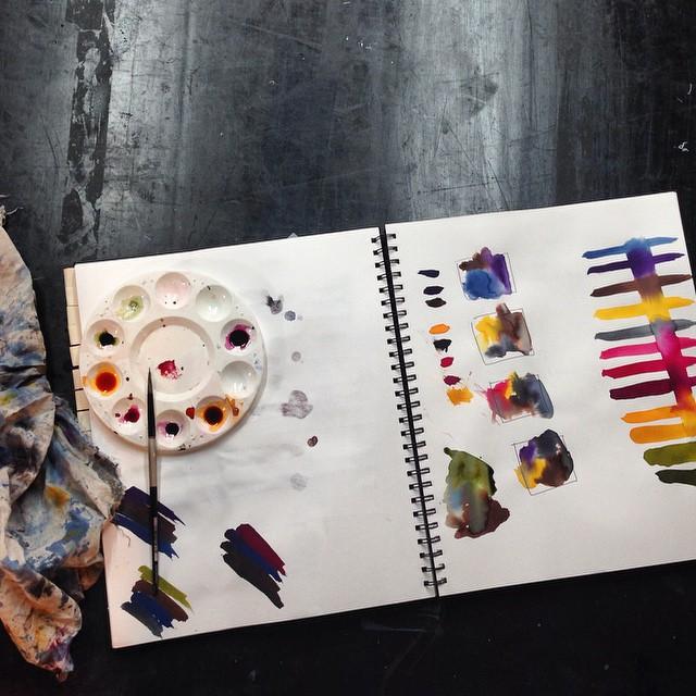 Mixing color combos #textiledesign #fabricdyes #planetariumdesign #sketchbook