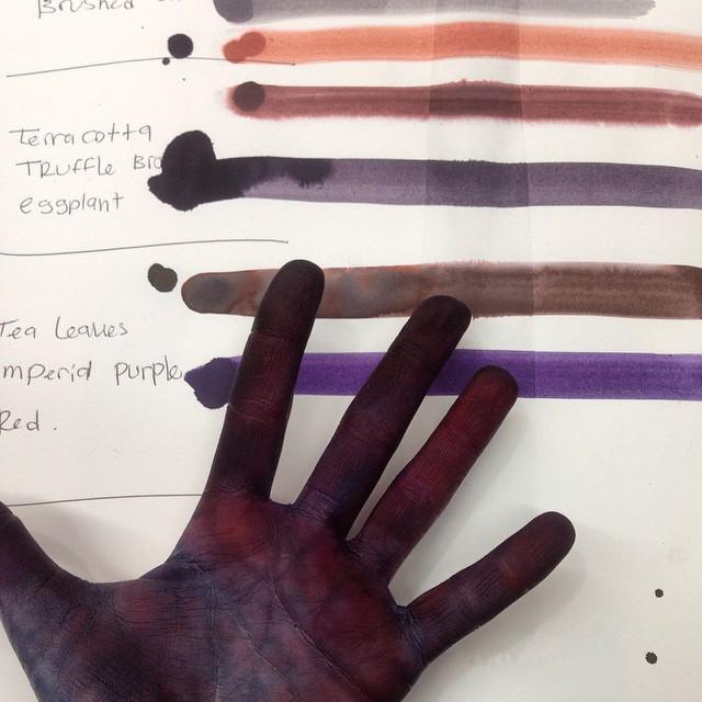 Hand after intense tie & dye batch of #silk scarves #planetariumdesignstudio #textiledesign #textiledying #fabricdye #tieanddye