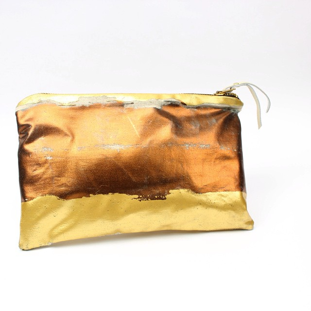 I'm seeing these colors everywhere now! #NYautumn #foilbag #gold #copper #textiledesign #planetariumdesign