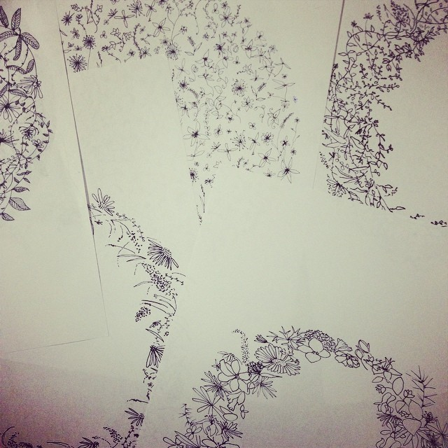#Botanicalpatterns from my #sketchbook soon to be #screenprinted on napkins #planetariumdesignstudio