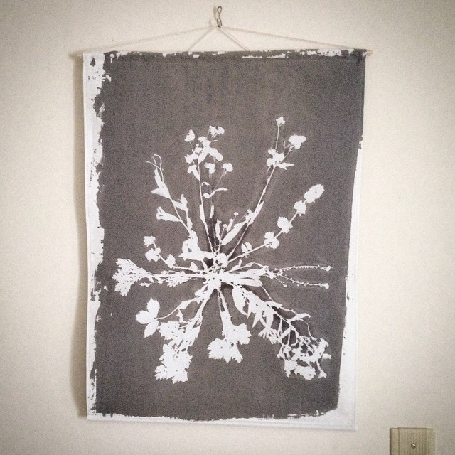 Our pressed botanical #screenprint on cotton makes beautiful wall art #textiledesign #planetariumdesign it's lightweight and ready for hanging!