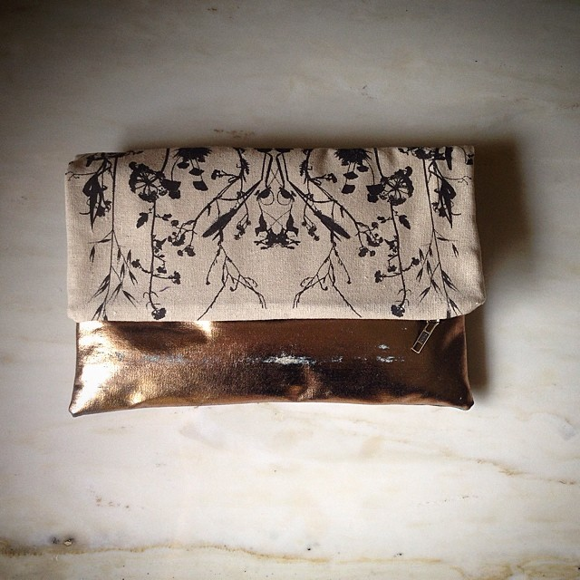 #planetariumdesign #clutch bag in #rosegold my favorite #foil color at the moment #textiledesign #ss2014