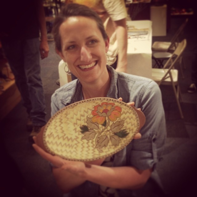 Beautiful @colleenceramics with a stunning hand #botanical plater #gallerynight at @handworkcoop