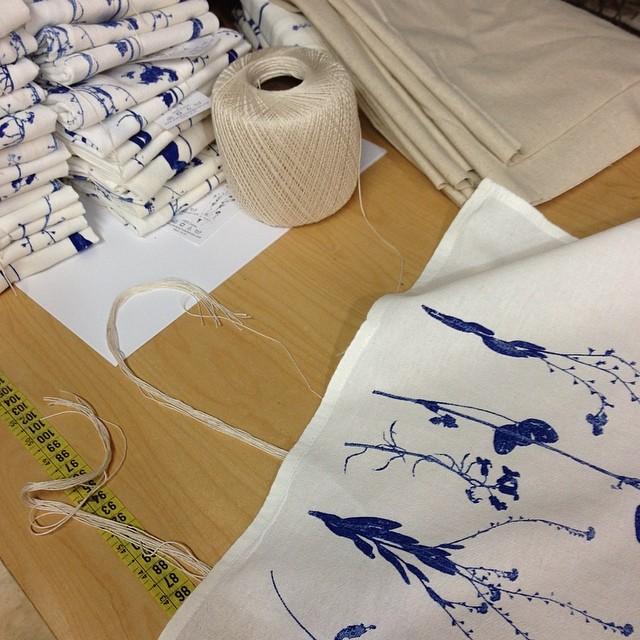Busy today #printing and folding #BOTANICAL #wildflowers flour sack towels they where a huge favorite this past weekend at the #ithacafestival #planetariumdesignstudio #planetariumdesign #textiledesign
