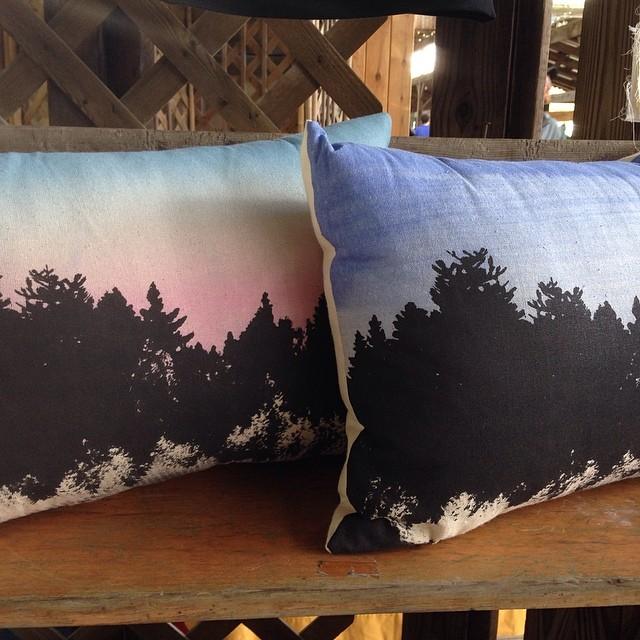 #screenprinted & #handpainted pillows at the #ithacafarmersmarket #textiledesign #planetariumdesign (at Ithaca Farmers Market)