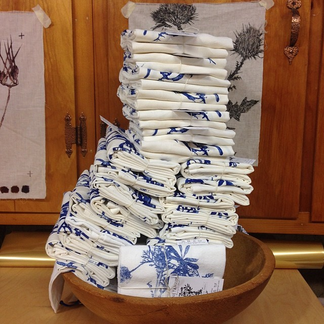 I wonder how tall it will go? #textiledesign #screenprinted #towels #planetariumdesign #studio