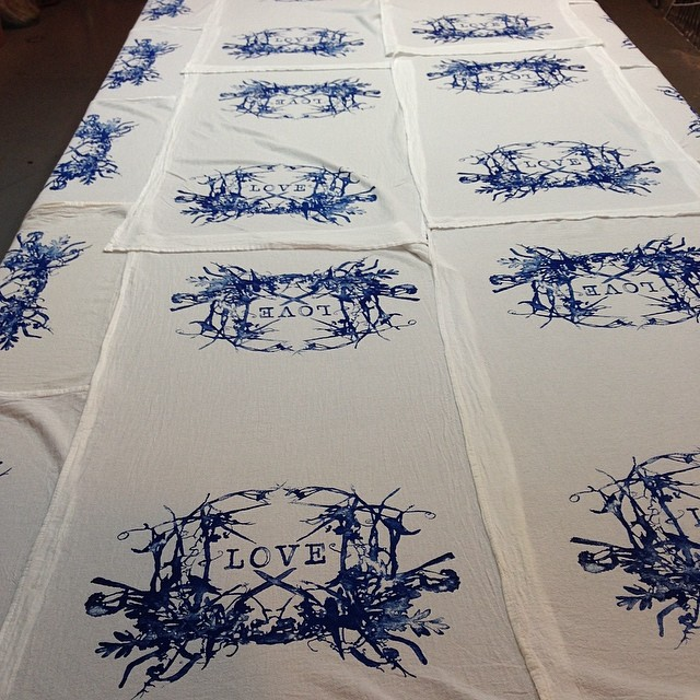 Can you feel the #love #screenprinted #towels #planetariumdesign #textiledesign