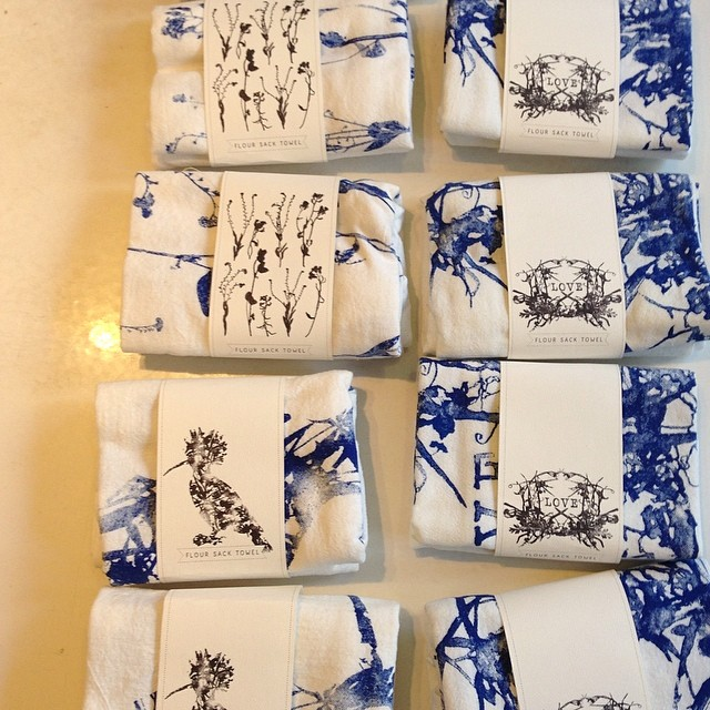 #Wildflowers inspired patterns on our #screenprinted flour sack towels now traveling to NYC