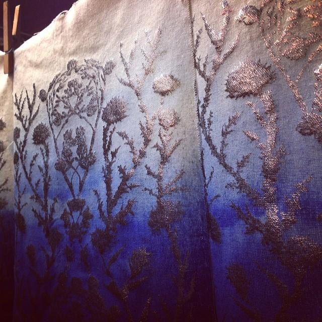#foil and #blue #dye #textiledesign #planetariumdesign