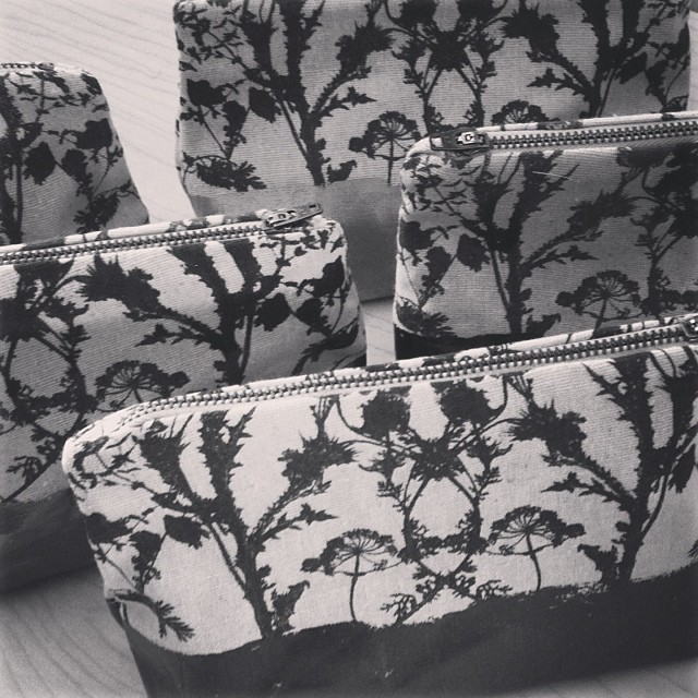 #sewing #makeup #bags #planetariumdesign #handprinted #textiledesign