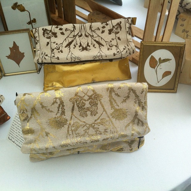 New #gold color #clutch bags with are #classic #wildthorns #pattern #autumn special edition picture taken at the apple harvest festival last weekend in Ithaca NY