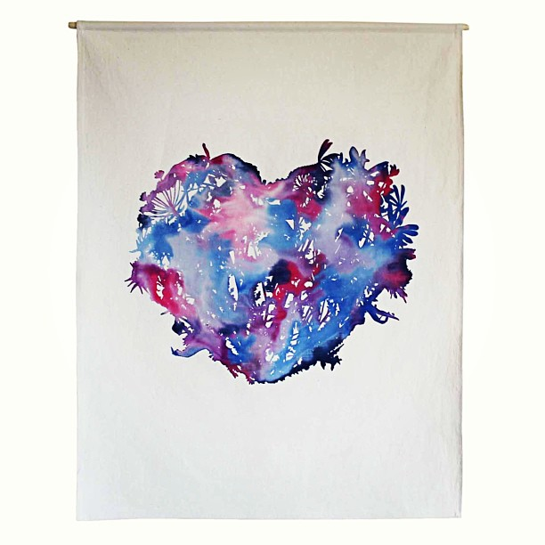 #monoprint #wallart #wildflowers #heart #planetariumdesign #screenprint