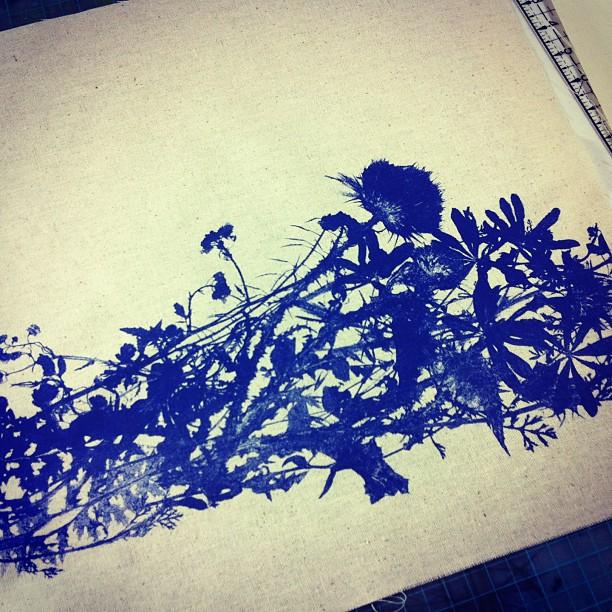 #wildflowers #pillow #handprinted #blue #planetariumdesign